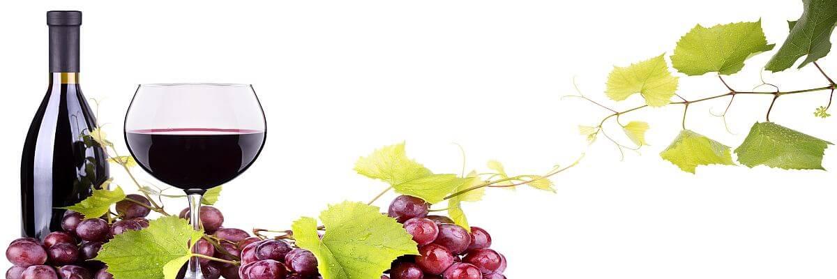 Rotweinflasche und Weintrauben. Weinreisen und Incentives von all about event. Das Aroma der Welt.